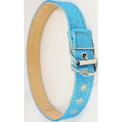 Zgarda piele & textil 4 cm/80 cm albastru